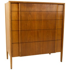Barney Flagg for Drexel Parallel Midcentury Walnut 5-Drawer Highboy Dresser