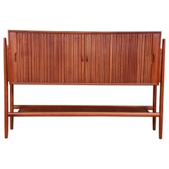 Barney Flagg for Drexel Parallel Walnut Tambour Door Sideboard, Newly Restored