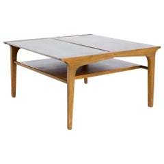 Barney Flagg for Drexel Profile Mid Century Leather Top Coffee Table