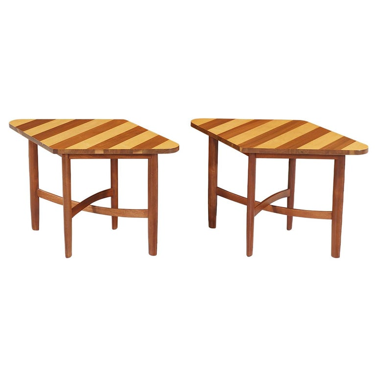 """Barney Flagg """"Parallel"""" Multi-Wood Side Tables for Drexel For Sale"""