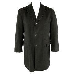 BARNEY'S NEW YORK 42 Black Cotton Notch Lapel Long Coat