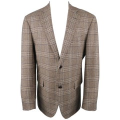 BARNEY'S NEW YORK 44 Regular Brown Plaid Cashmere Notch Lapel Sport Coat