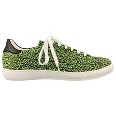 BARNEY'S NEW YORK Size 10 Lime Green & Black Heather Woven Lace Up Sneakers