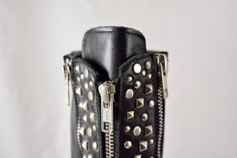 Barneys New York Studded Black Leather Triple Zippered Lug Sole Biker Boots For Sale 2