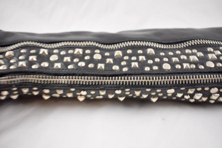 Barneys New York Studded Black Leather Triple Zippered Lug Sole Biker Boots For Sale 3
