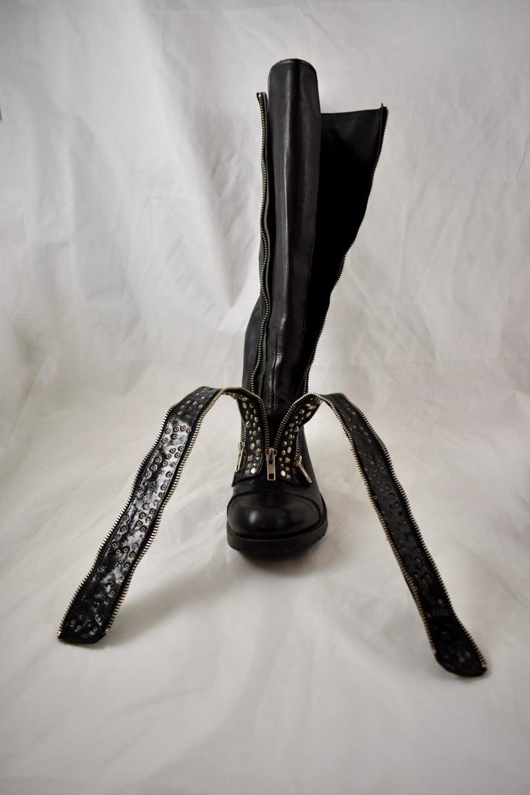 Barneys New York Studded Black Leather Triple Zippered Lug Sole Biker Boots For Sale 4