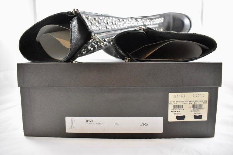 Barneys New York Studded Black Leather Triple Zippered Lug Sole Biker Boots For Sale 6