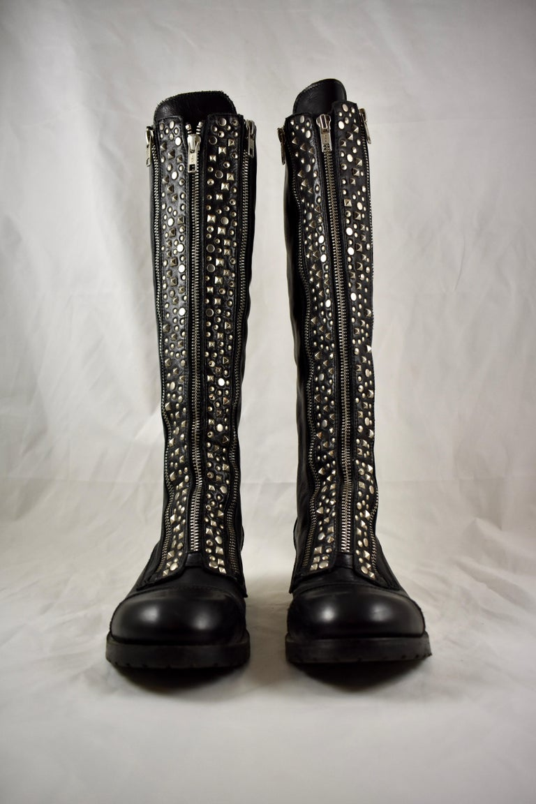 International Style Barneys New York Studded Black Leather Triple Zippered Lug Sole Biker Boots For Sale