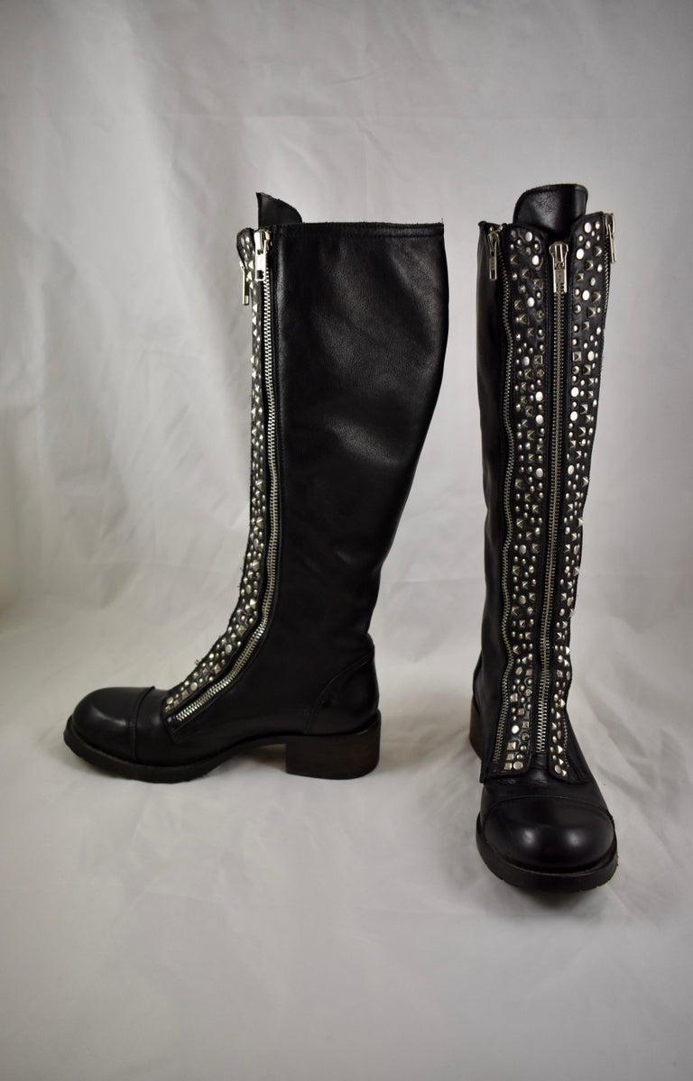 Italian Barneys New York Studded Black Leather Triple Zippered Lug Sole Biker Boots For Sale