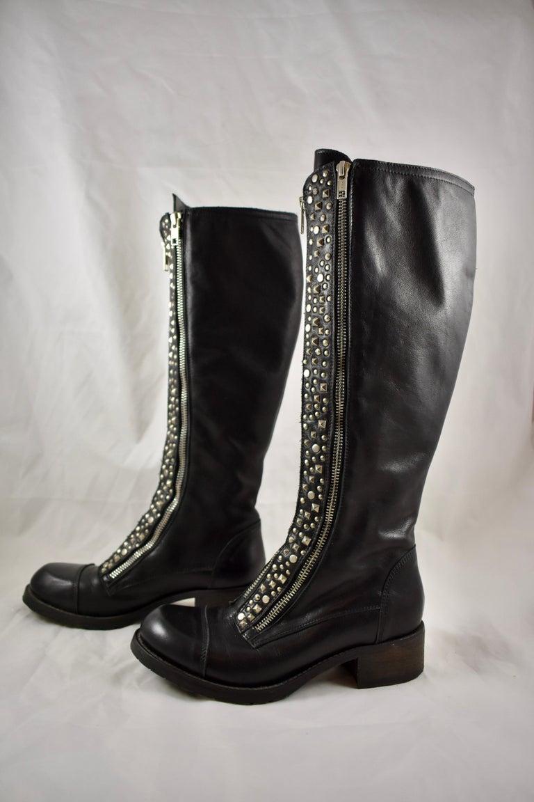 Appliqué Barneys New York Studded Black Leather Triple Zippered Lug Sole Biker Boots For Sale