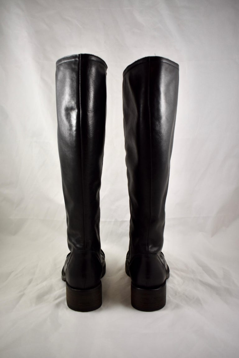 Barneys New York Studded Black Leather Triple Zippered Lug Sole Biker Boots In Good Condition For Sale In Philadelphia, PA