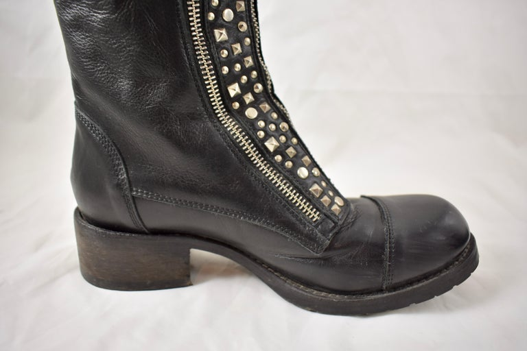 Contemporary Barneys New York Studded Black Leather Triple Zippered Lug Sole Biker Boots For Sale