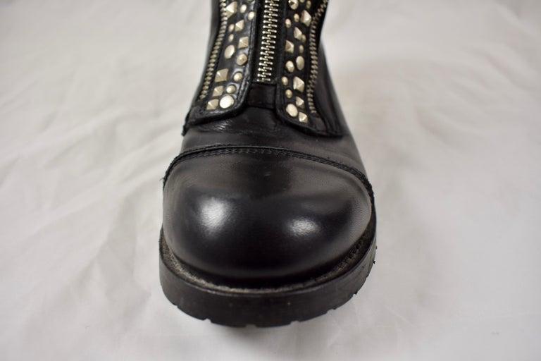 Metal Barneys New York Studded Black Leather Triple Zippered Lug Sole Biker Boots For Sale