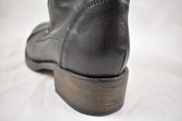 Barneys New York Studded Black Leather Triple Zippered Lug Sole Biker Boots For Sale 1