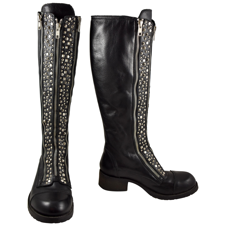 Barneys New York Studded Black Leather Triple Zippered Lug Sole Biker Boots