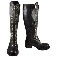 Barneys New York Studded Black Leather Triple Zippered Lug Sole Biker Boots