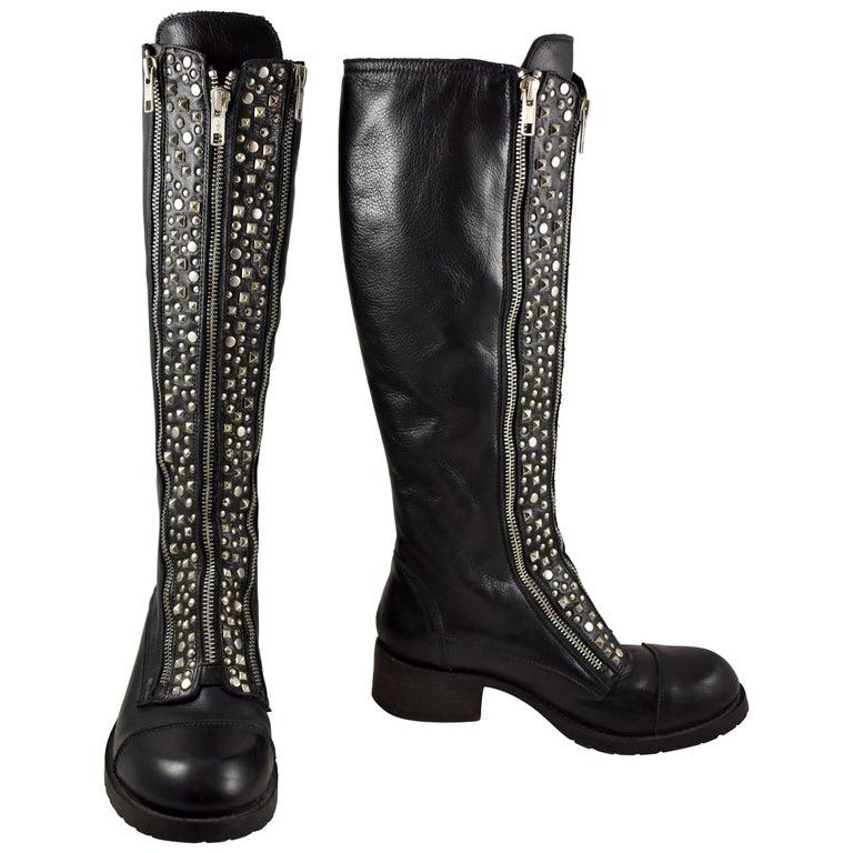 Barneys New York Studded Black Leather Triple Zippered Lug Sole Biker Boots For Sale