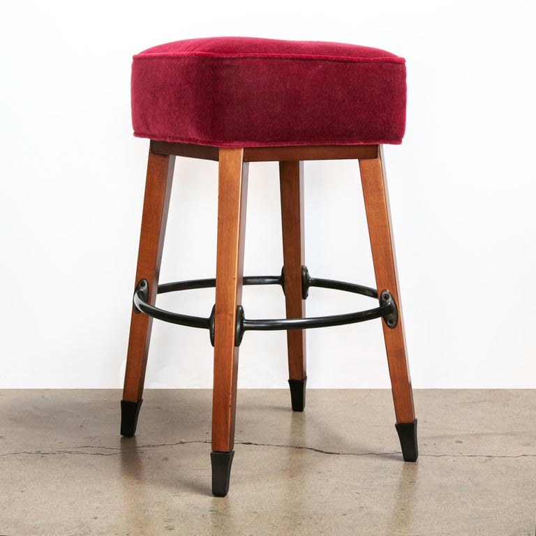 Barney's Stools in Clear Maple, Cast Aluminum and Mohair, Jordan Mozer USA, 1992 In Good Condition For Sale In Chicago, IL