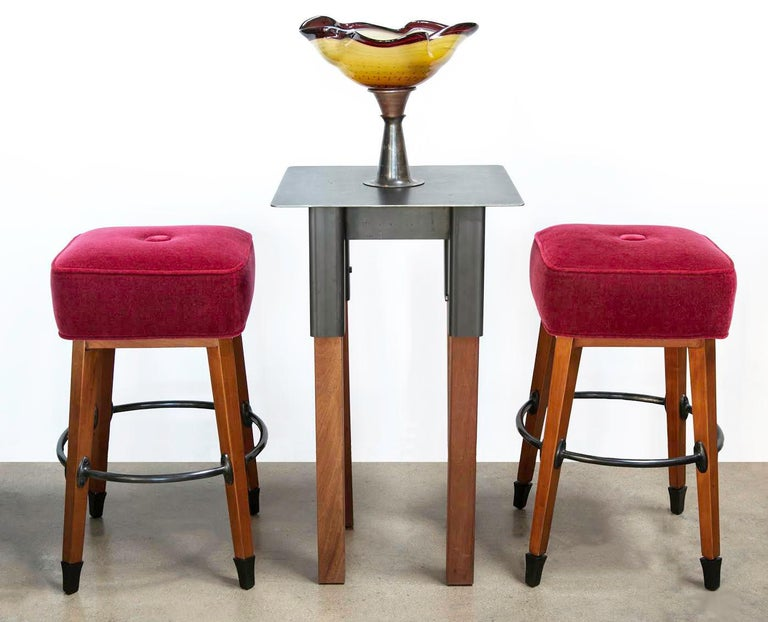 Barney's Stools in Clear Maple, Cast Aluminum and Mohair, Jordan Mozer USA, 1992 For Sale 1