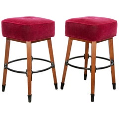 Barney's Stools in Clear Maple, Cast Aluminum and Mohair, Jordan Mozer USA, 1992