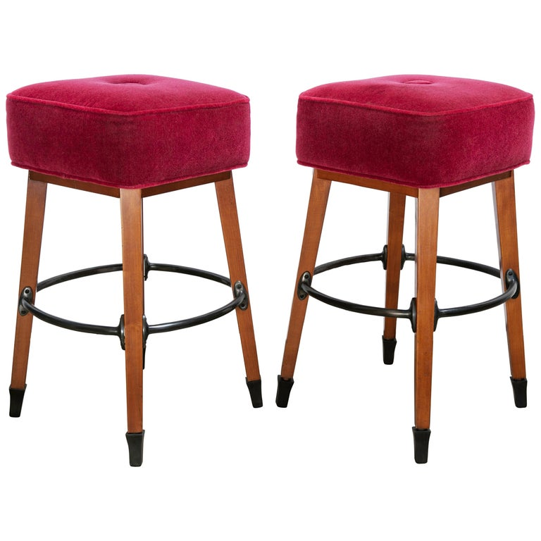 Barney's Stools in Clear Maple, Cast Aluminum and Mohair, Jordan Mozer USA, 1992 For Sale