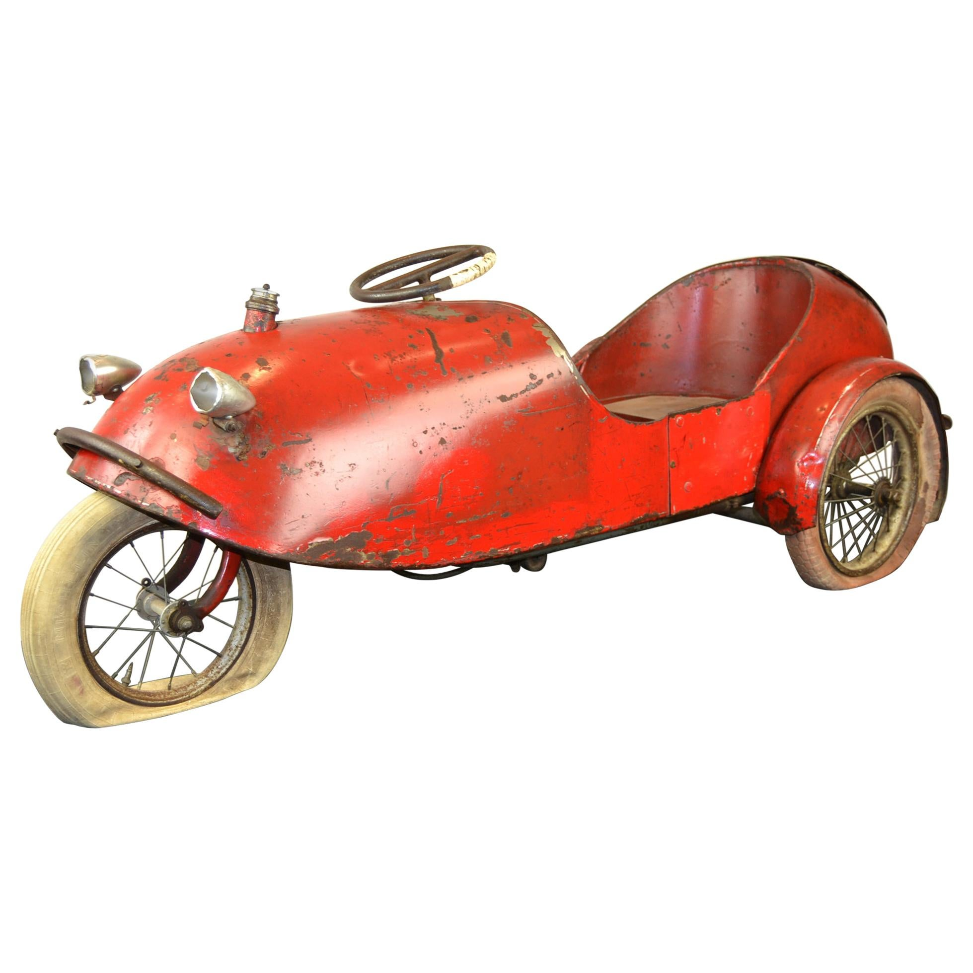 Barnfind Antique Large Tadpole Rider Tricycle Pedal Car, France, 1930s
