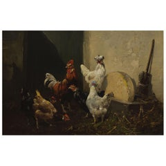 """French Barbizon School Antique Painting """"Barnyard Roosters and Hens"""", 19th C"""