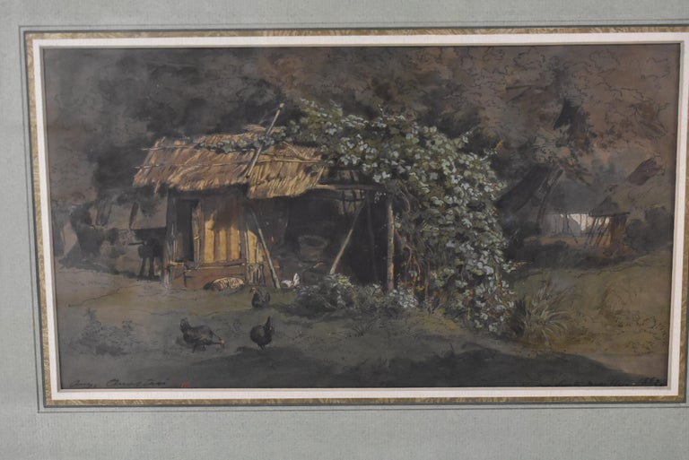 Original barnyard scene watercolor by French artist Auguste Paul Anastasi 1820-1889. Very nice details. Thatched roof outbuilding in a forrested area. Free range chickens. Signed lower left and dated 1852. Student of Eugène Delacroix and Camille