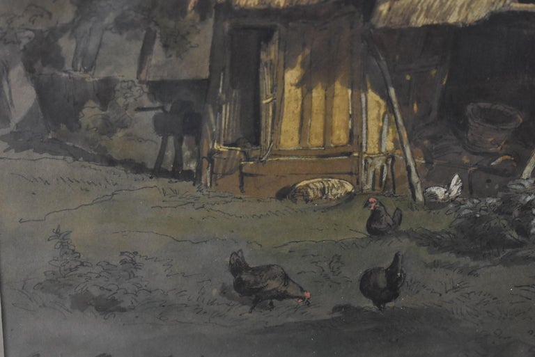 Early Victorian Barnyard Watercolor by French Artist Auguste Paul Anastasi 1852 For Sale