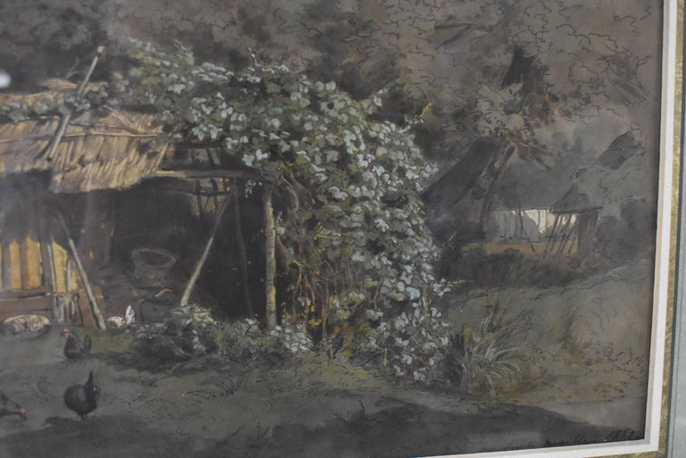 Barnyard Watercolor by French Artist Auguste Paul Anastasi 1852 In Good Condition For Sale In Toledo, OH