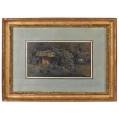 Barnyard Watercolor by French Artist Auguste Paul Anastasi 1852