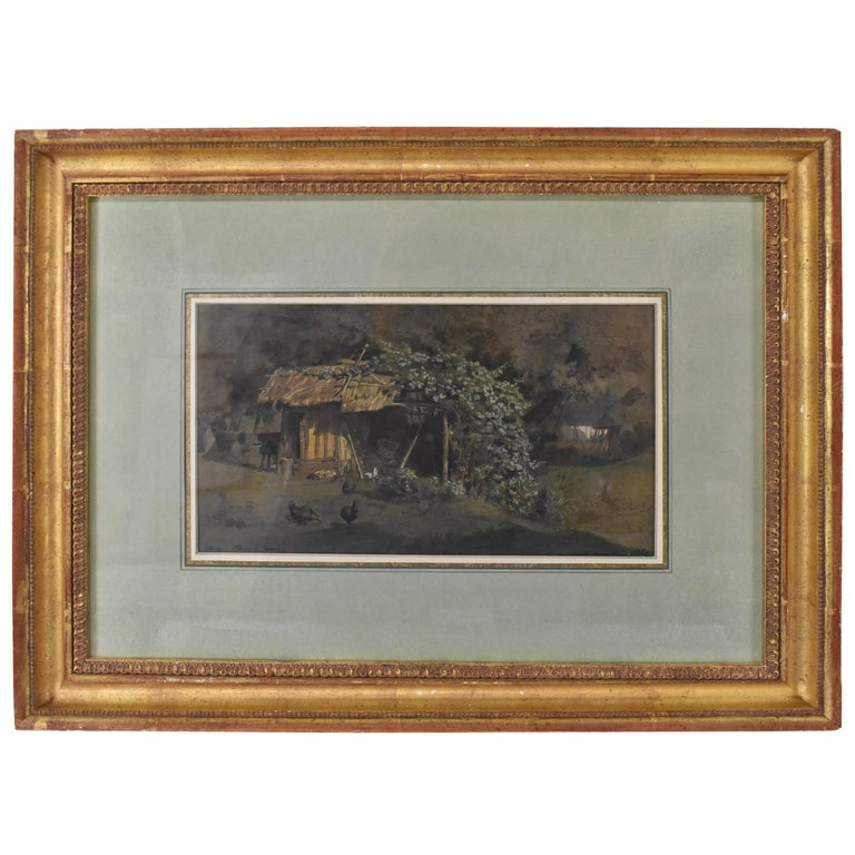 Barnyard Watercolor by French Artist Auguste Paul Anastasi 1852 For Sale