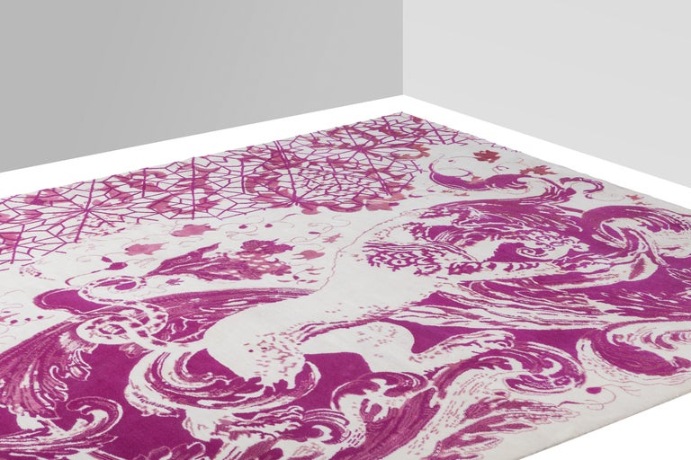 Hand-Knotted Baroccarrabbiata Carpet, Hand Knotted in Wool and Silk, 200 Kn, Harry & Camila For Sale