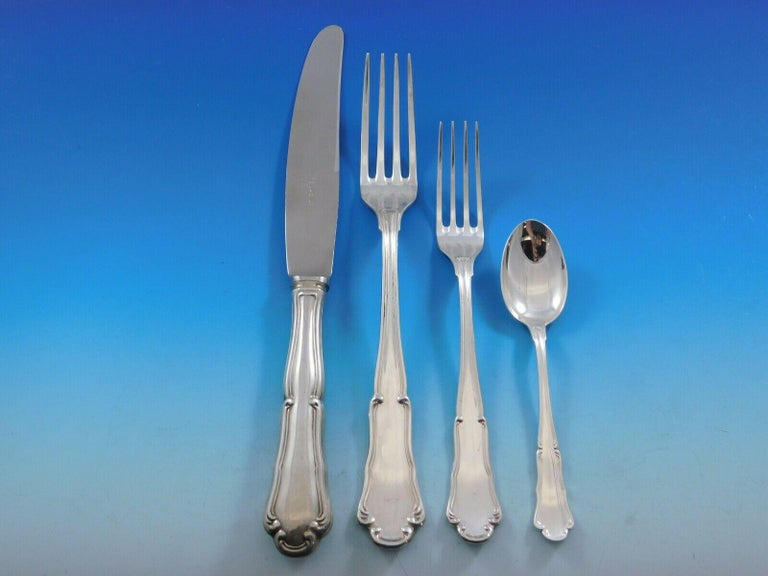 Outstanding dinner size Barocco by Zaramella Argenti (same pattern as Barocco by Wallace) Italy 800 silver flatware set, 113 pieces. This set includes: