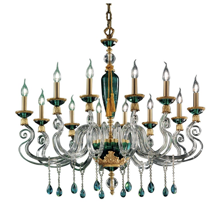 Barocco Green Chandelier 12 Lights In New Condition For Sale In Milan, IT