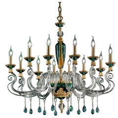 Barocco Green Chandelier 12 Lights