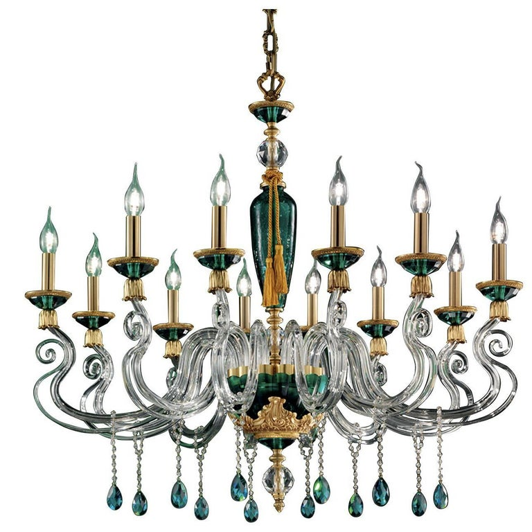 Barocco Green Chandelier 12 Lights For Sale