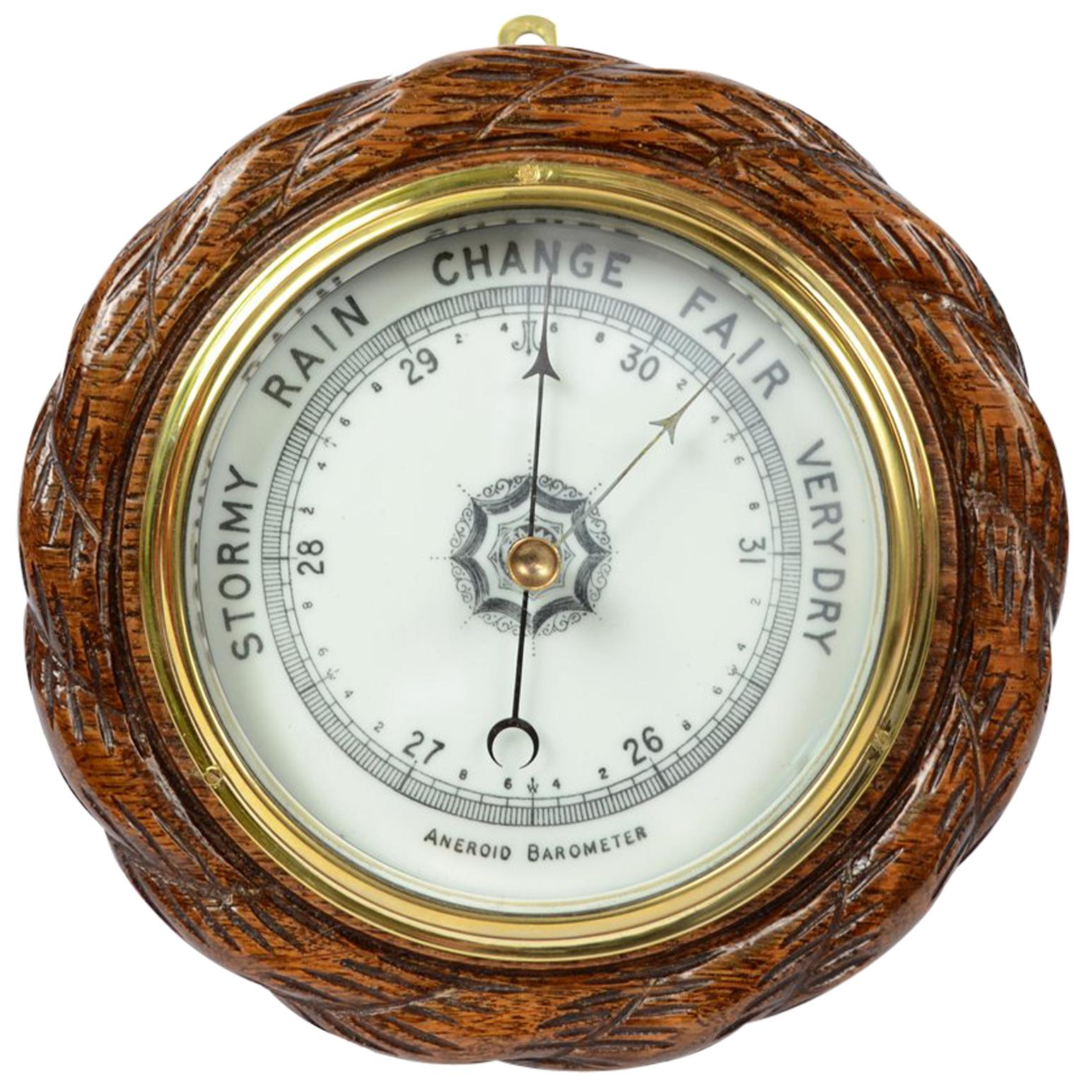 Barometer made in the Late 1800s in Oakwood Carved like a Rope