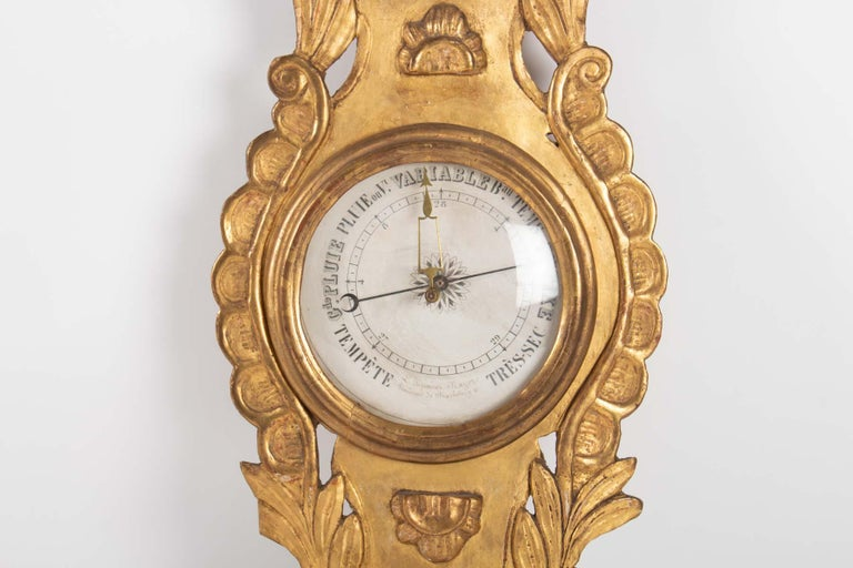 French Barometer Louis XVI in Golden Wood, 18th Century For Sale