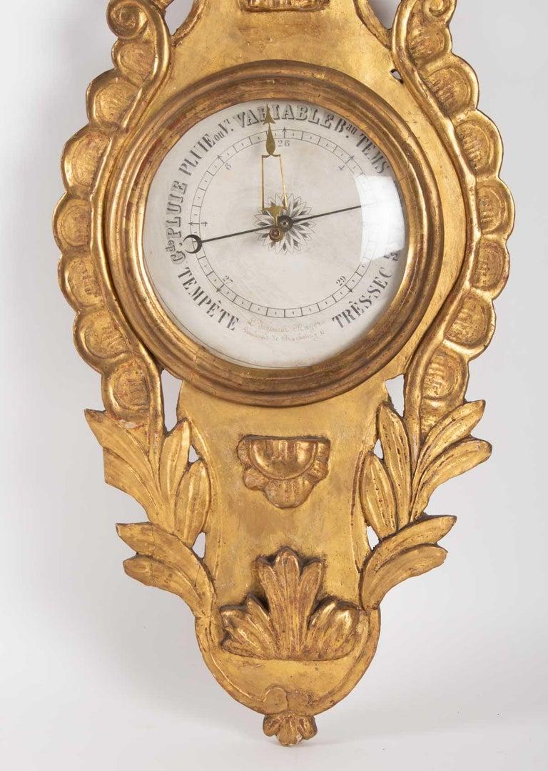 Gilt Barometer Louis XVI in Golden Wood, 18th Century For Sale