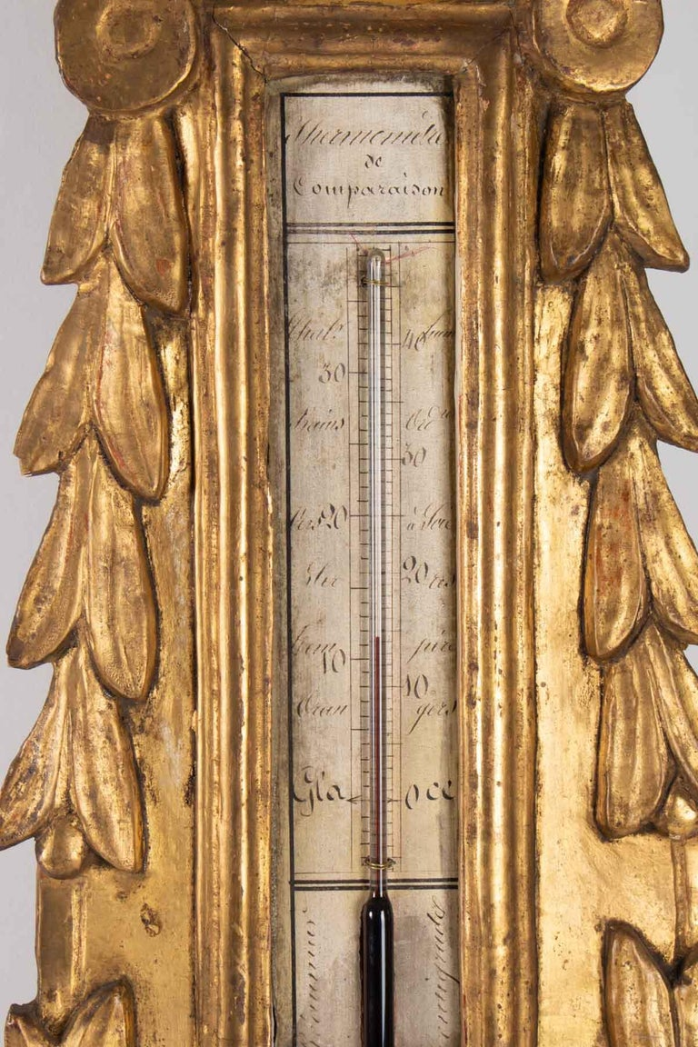 Barometer Louis XVI in Golden Wood, 18th Century In Good Condition For Sale In Saint-Ouen, FR
