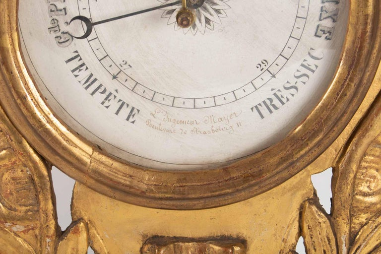 Barometer Louis XVI in Golden Wood, 18th Century For Sale 1