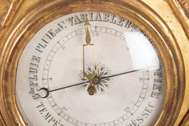 Barometer Louis XVI in Golden Wood, 18th Century For Sale 2