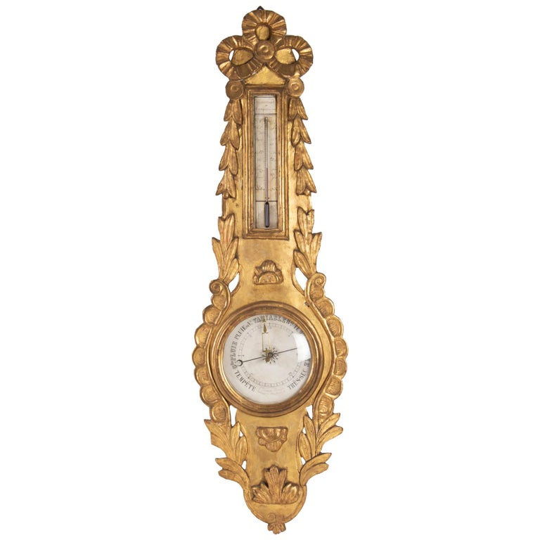 Barometer Louis XVI in Golden Wood, 18th Century For Sale