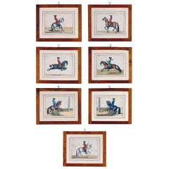 Baron D'Eisenberg Set of Seven Hand Colored Prints of Horses, circa 1847