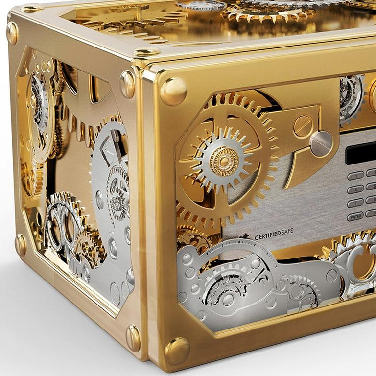 Modern Baron Jewelry Safe Mini with Brass and Steel Detail For Sale