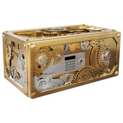 Baron Jewelry Safe Mini with Brass and Steel Detail