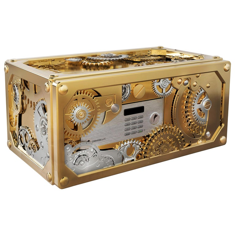 Baron Jewelry Safe Mini with Brass and Steel Detail For Sale