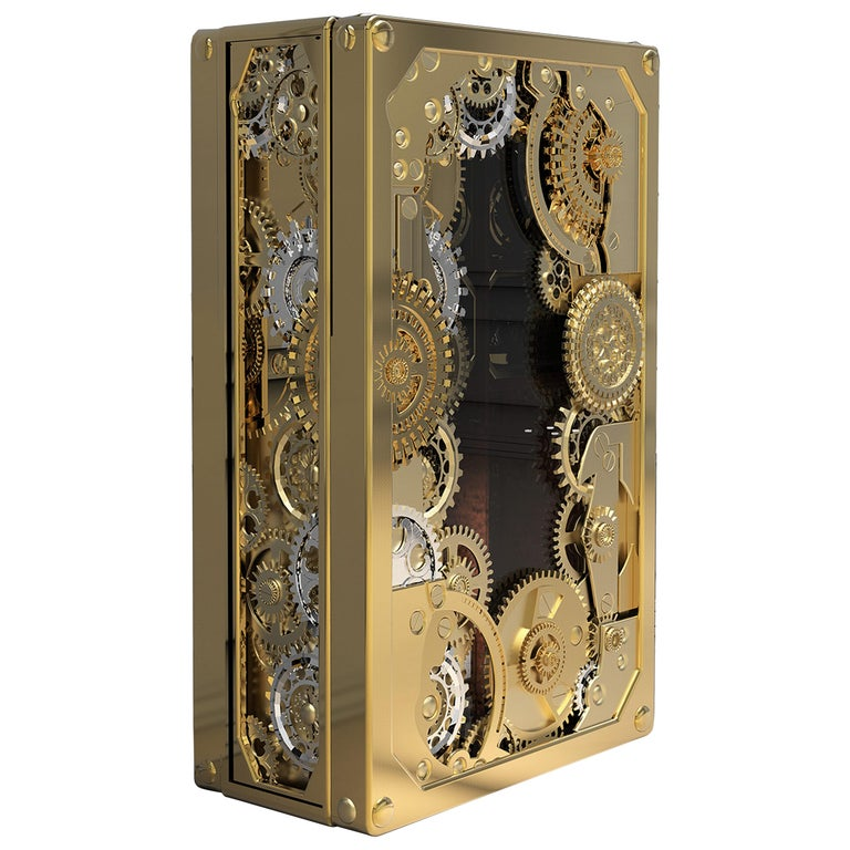 Baron Luxury Safe in Brass with Silver Detail For Sale