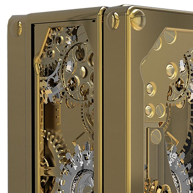 Modern Baron Luxury Safe in Brass with Silver Detail For Sale